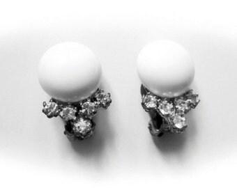 Vintage Earrings White and Rhinestone Bridal 1950s