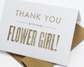 Thank You For Being My Flower Girl - letterpress bridesmaid cards - wedding cards