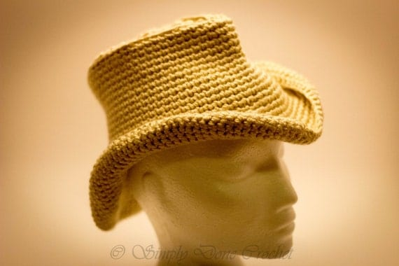 Crochet Cowboy Hat Tan Double Yarn 1-3 year old