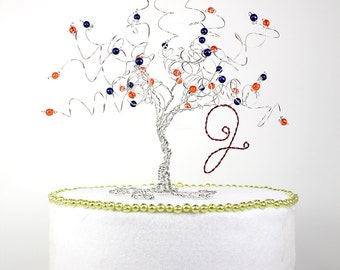 Graduation Gift Tree of Life Wire Sculpture or Tree Cake Topper in Any School Colors