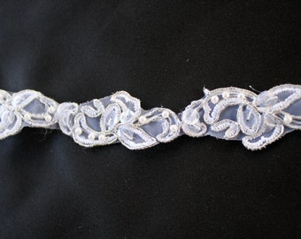"White with SILVER accents bridal trim, 1"" wide Lace trimming, Bridal lace supplies and trim by Vegas Veils. Ships today!"