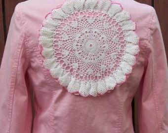 Upcycled Pink Denim Cropped Jacket-Gypsy Clothing-Vintage White Lace-Altered Clothing-Size Medium