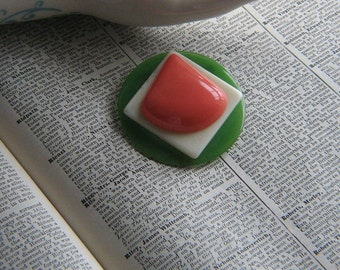 Green Ivory and Salmon Stacked Vintage Plastic Brooch