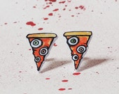 Delicious Creepy Pizza Slices with yummy Eyeballs - Earrings