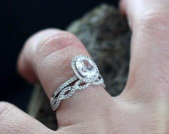 Moissanite Engagement Ring Set Ovale Medio & Infinite Love Diamond Oval Halo 1.5ct 8x6mm Custom White-Yellow-Rose Gold-10k-14k-18k-Platinum