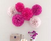Berry Pom-Pom Collection - 6 Piece Set - Pom Poms - Weddings - Briday Shower - Nursery Decor - Party Decorations - Photo Prop