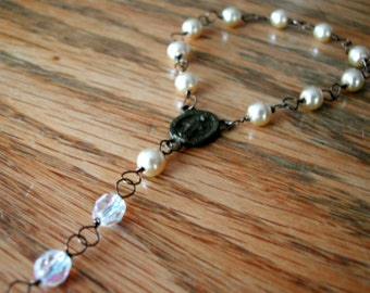 One-decade rosary: gold and clear beads, antique brass, wire wrapped