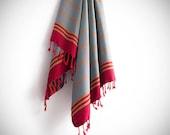 Bade Pestemal Towel. Bath & Beach Towel. Grey Blue - Red striped Turkish Towel, Fouta, Peshtemal, Gift
