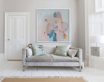 "print of abstract painting with blue and pink. Large Giclee print on canvas or paper ""A Pocketful of Rings"""