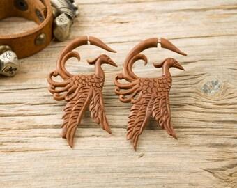 Fake Gauge Earrings Wooden Crane Tribal Earrings - FG021 SW