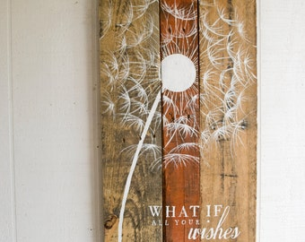 Pallet Art Dandelion Welcome Home Wall Hanging Rustic Shabby Chic - Custom Colors for your decor - NEW Larger Size!