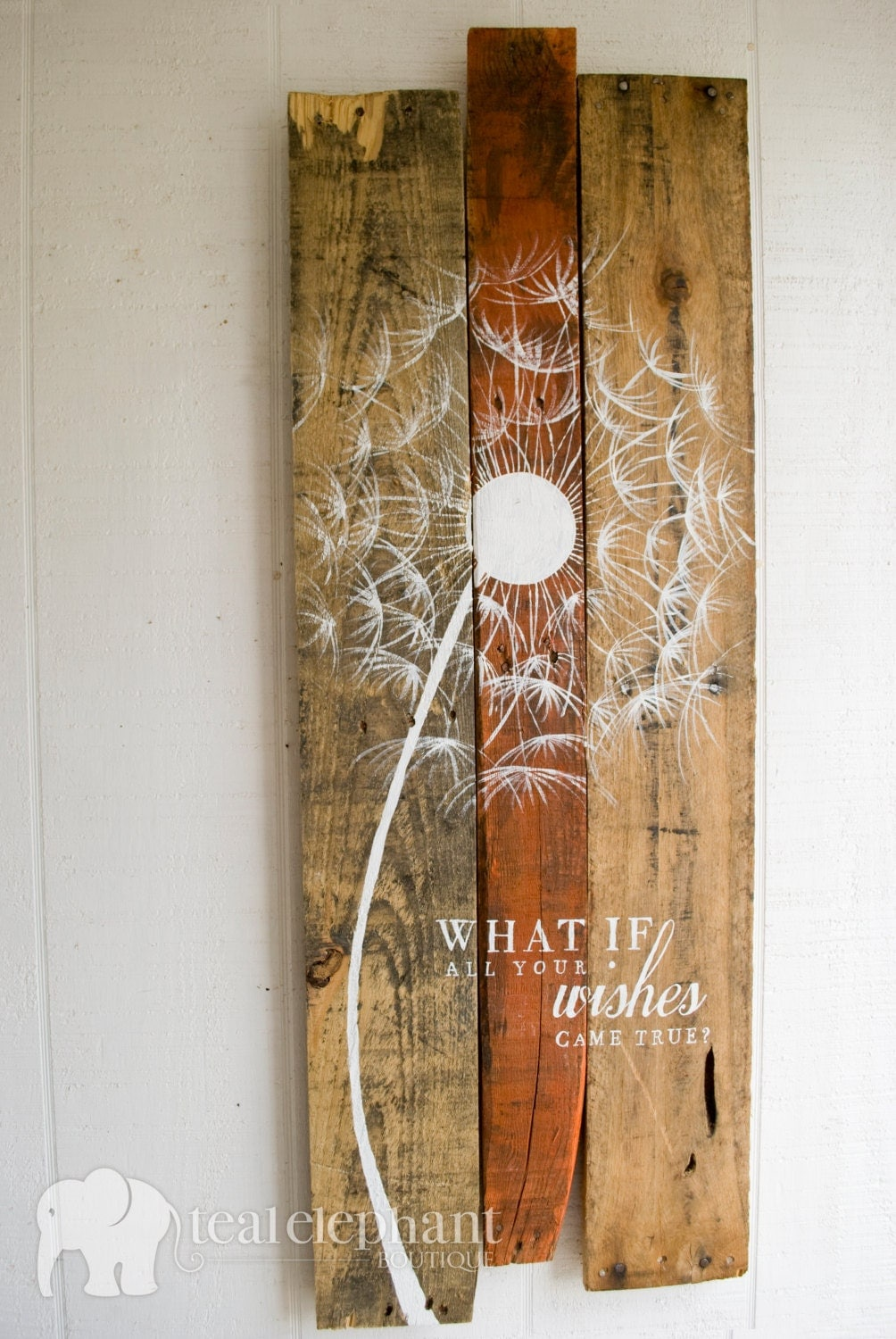 Pallet Art Dandelion Welcome Home Wall Hanging Rustic Shabby