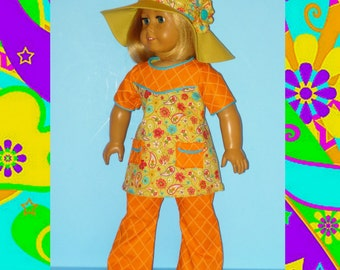 Bell Bottom Pants, Top, and Bohemian Floppy Hat fits American Girl Doll Julie