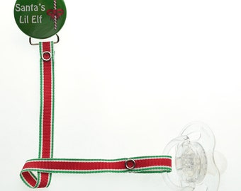 Santa's Lil Elf Christmas Pacifier Clip with Matching Ribbon (RHSE)