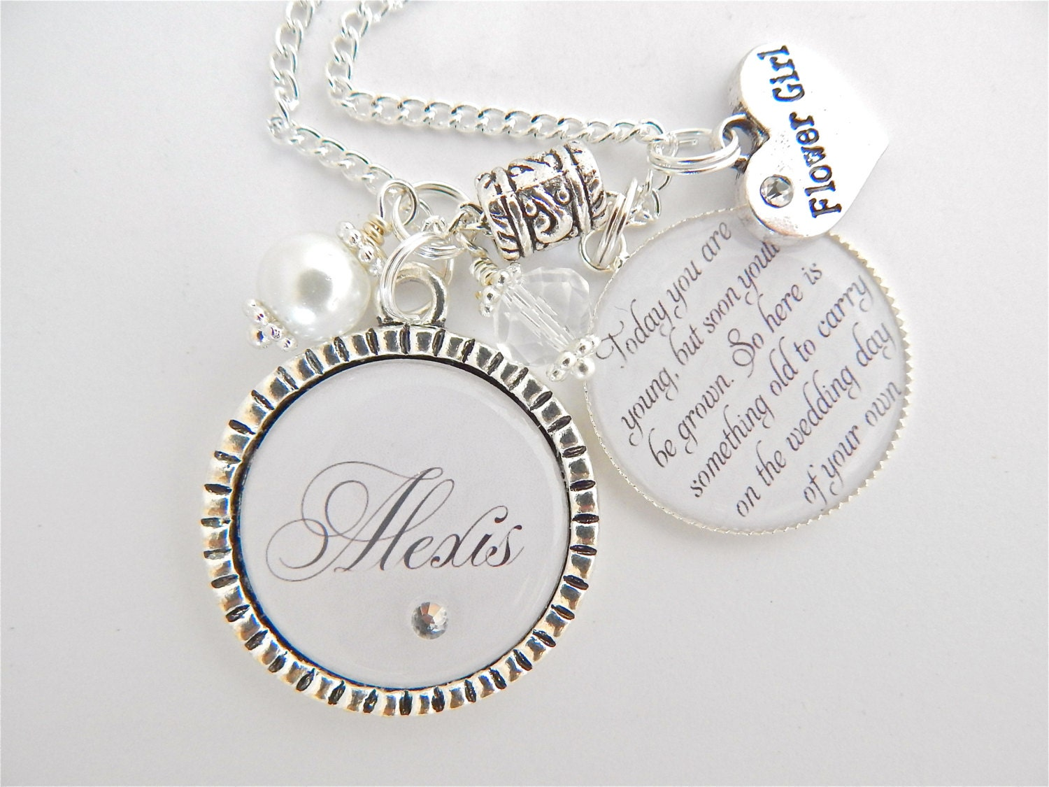 Childrens Wedding Gifts: FLOWER GIRL GIFT Children's Wedding Jewelry Personalized