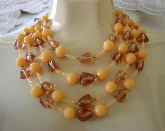 1960s Bead Bib Necklace / Hong Kong / Colorful Fall Colors - Coral & Citrine / Vintage Jewelry / Jewellery