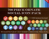 HUGE Social Media Icon Package - 700 Blog Button Icons - Transparent Social Network Buttons Instagram Email Icon, Twitter Icon and more!
