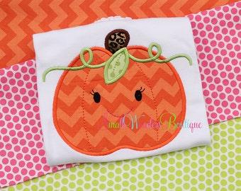 Thanksgiving Embroidered Shirt - Girl Pumpkin Shirt  - Personalized Pumpkin- GirlsThanksgiving Shirt - Holiday Shirt - Pumpkin Shirt