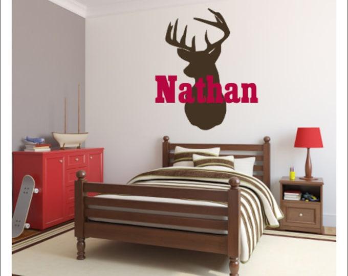 Deer Head Decal Personalized Name Deer Head Wall Decal Vinyl Wall Decal Hunting Deer Vinyl Decal Wall Decal Housewares Boy Nursery Bedroom