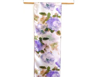 Floral Silk Scarf. Hand Painted Lilac and Purple Roses, Watercolour Print. Romantic. Spring. Ladies Gift Formal. Lightweight. Summer scarf