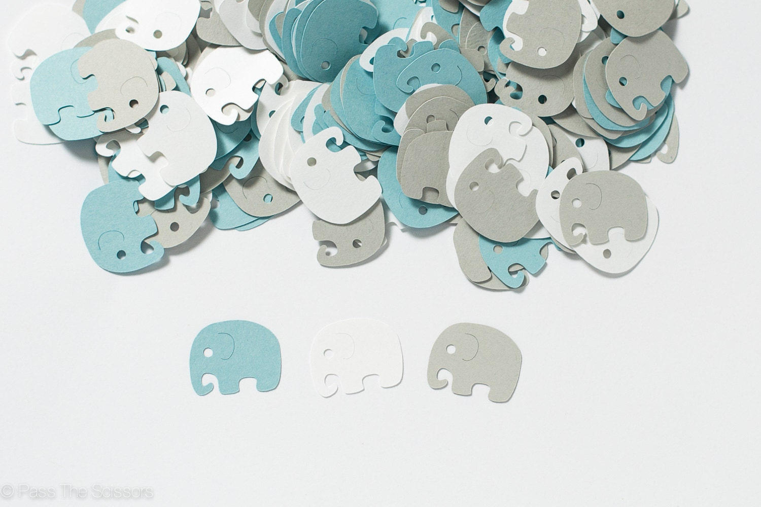 Baby shower decoration elephant confetti blue by for Decoration elephant
