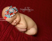 Red and Turquoise Shabby Flower Rose Headband - Theme Birthday Inspired - Photo Prop - Newborn Baby Hairbow - Little Girls Hair Bow