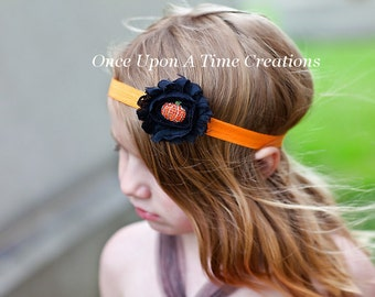 Little Bling Pumpkin Headband - Photo Prop - Halloween Costume Accessory - Orange and Black - Newborn Baby Hairbow - Little Girls Hair Bow