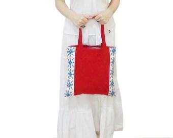 Red Cotton Tote Bag, Cross stich bag, Polka Dot Lining Summer Hobo Bag Purse, Floral Tote Bag, Hobo Tote Bag, Red Floral Tote, Shoulder Bag