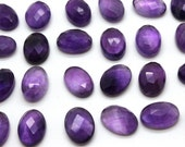 GCF-1305 - Purple Amethyst Faceted Cabochon - 10x14mm Oval - Gemstone Cabochon February Birthstone - AA Quality - 1 Pc