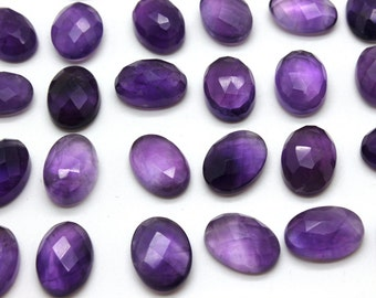 GCF-1305 - Purple Amethyst Faceted Cabochon - 10x14mm Oval - Gemstone Cabochon February Birthstone - AA Quality - 1 Pc
