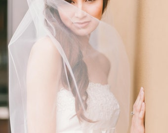 bridal veil fingertip with cut edge wedding veil waist length 38inch bridal veil raw edge simple veil Fingertip veil