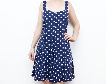 Vintage navy blue dot 90s mini dress