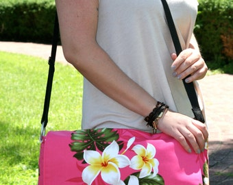 Hot Pink Floral Laptop Bag with Padded Section and Yellow Cotton Lining