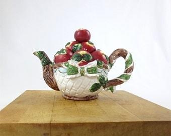 Basket of Apples Figural Porcelain Teapot