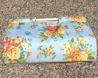 Insulated Casserole Carrier Flowers on Light Blue with Yellow Polka Dots, Personalization Available