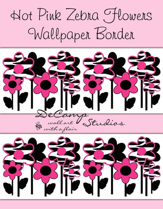 hot pink zebra flowers wallpaper border wall decals teen girls bedroom