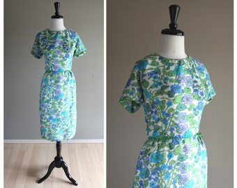 Lovely Morning Glory Pattern Silk Wiggle Dress / Vintage 1960s / New York House of Lords