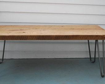 Rustic Reclaimed Barnwood Oak Coffee Table with Hairpin Legs
