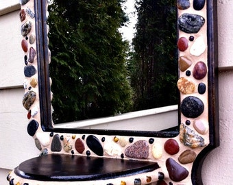 Mosaic Mirror Pebbles Stones Rocks Lake Michigan Recycled Shelf