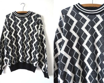 Zig Zag Abstract Sweater - Hip Hop Style Baggy Minimal Patterned Slouchy fit Jumper - Mens Large