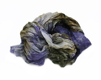 olive silk scarf - Nothern Forest - olive, grey, blueberry purple silk ruffled scarf.