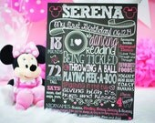 Minnie Mouse First Birthday Chalkboard - 1st Birthday Chalkboard For Minnie Mouse Themed Party - Printable Chalk Poster Minny Mouse Pink