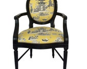 Oval Back Vintage Chair Upholstered in Yellow Toile Painted In High Gloss Black