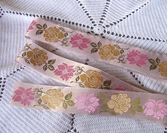 Vintage Sewing Ribbon Trim 60s 70s Shimmering Roses