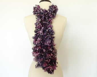 Ruffle Scarf Knit Fashion Frilly Scarf Purple Black White Panther Design - Womens Scarf, Accessories, Teen Scarf, Gifts For Her, Girls Scarf