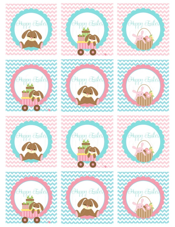 Easter bunny kids cute happy easter gift basket favor tags il570xn negle Choice Image