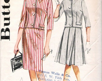 Vintage 60's Butterick 2258 Two Piece Skirt Jacket Sewing Pattern Size 14 Bust 34""