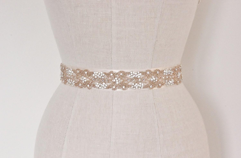 Blush wedding belt bridal sash rose gold crystal beaded for Gold belt for wedding dress