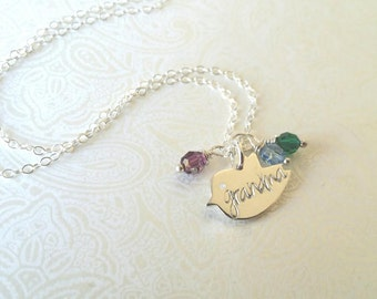 Grandma Necklace-Thai Silver Chick Charm Hand Stamped with Grandma with Birthstones of Choice-Gift for Grandma