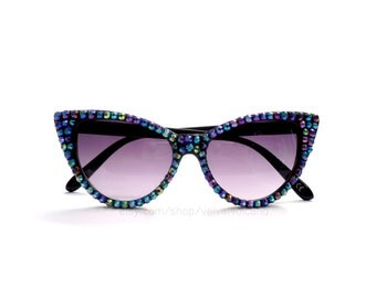 Sparkly Black Cat Eye Sunglasses - Rockabilly Crystal Sunglasses - Retro Sunglasses - Cat-Eye Sunglasses - 50s Sunglasses - Bling Sunglasses
